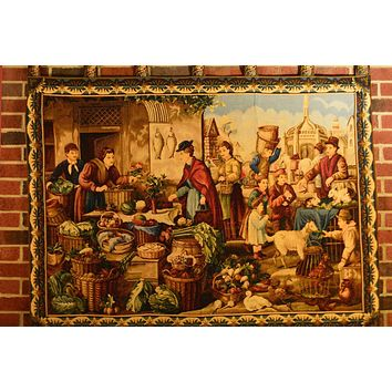 Tache 38 x 55 Inch Saturday Bazaar Marketplace Tapestry Wall Hanging With Hanging Loops