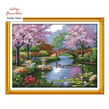 Golden Panno,The Beautiful Scenery of Park patterns Counted Cross Stitch 11CT 14CT Cross Stitch Kits for Embroidery Home Deco923