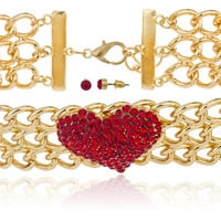 Goldtone with Red Stones 15-18 Inch Adjustable Length Heart Style Choker Necklace and Matching Earrings Jewelry Set
