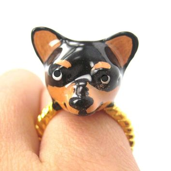 3D Chihuahua Dog Face Shaped Enamel Animal Ring Black and Tan | Limited Edition
