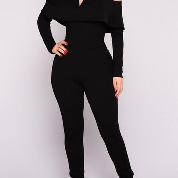 Black Pleated Zipper Ruffle Long Sleeve Off Shoulder Formal Casual Long Jumpsuit Catsuit