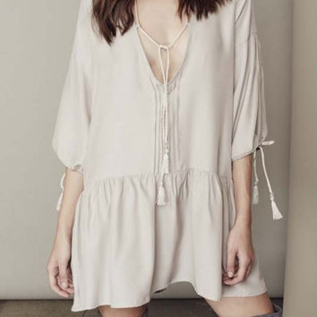 Casual V-Neck Half Sleeve Loose Mini Dress Smock Dress