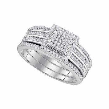 10kt White Gold Women's Round Diamond 3-Piece Cluster Bridal Wedding Engagement Ring Band Set 1-3 Cttw - FREE Shipping (US/CAN)