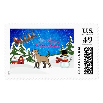 Merry Christmas American Pitbull Terrier Postage