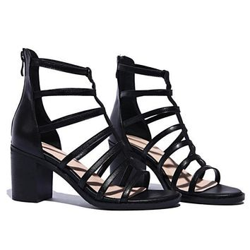 High Heel Shoes Gladiator Sandal Boots Genuine Leather Block Hollow Summer Pumps