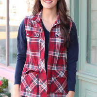 Tribal Back Plaid Utility Vest {Burgundy Mix}