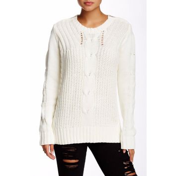 Michael Stars Women's Cable Knit Ivory Sweater
