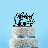 Hooked For Life Fishing Wedding Cake Topper  Custom Cake Topper Wedding Bridal Shower Cake Topper Party Decoration, 12 colors