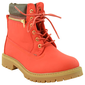 Womens Ankle Boots Rugged Zipper Accent Lace Up Hiking Shoes Red
