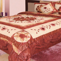 DaDa Bedding Flower  King Size Quilt Set