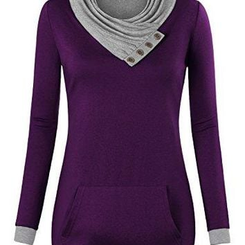 Miusey Womens Cowl Neck Long Sleeve Pullover Sweatshirt with Kangaroo Pocket