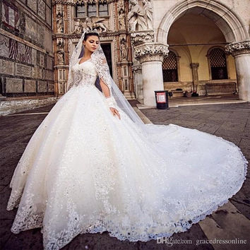 New Ball Gown Wedding Dress With Veil Crystal Top Vestido De Novia Pearls Beaded Spaghetti Wedding Bridal Gowns Casamento 2017