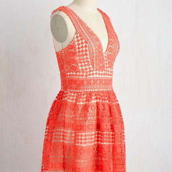 Boldest Geometric in the Book Dress in Coral | Mod Retro Vintage Dresses | ModCloth.com
