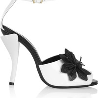 Fendi - Flower-appliquéd patent-leather sandals