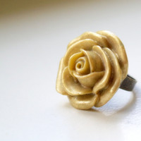 Golden sand rose cabochon ring Vintage become by medusa1307