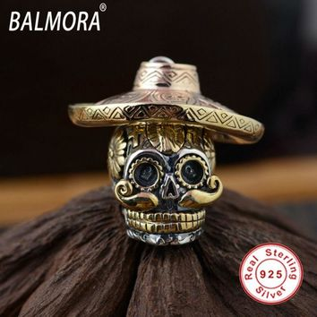 BALMORA 100% Real 925 Sterling Silver Skull Pendants Wearing a Hat for Necklaces Men Skull Cool Jewelry Accessories SY12423