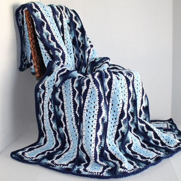 Afghan - Handmade Crochet Queen Size Blanket - Shades of Blue