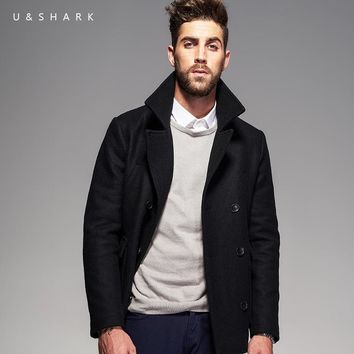 Winter Retro England Style Windproof Black Peacoat Brand Men Gothic Clothing 2016 U&Shark Casual Wool Trench Coat Male Jacket
