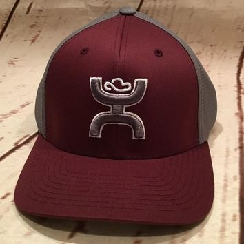 "Hooey Hat ""Olsen"" Fitted S/M Flexfit Maroon/Grey Cool & Dry back 1551BUGY-01"