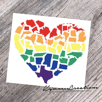 Love Equality In All States, Patriotic United States Love, Heart Vinyl Decal Sticker