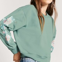 Embroidered-Sleeve Sweatshirt