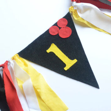 Mickey Mouse 1st birthday Banner - boy 1st birthday decor - cake smash set - mickey mouse birthday -  boy 1st birthday - high chair banner