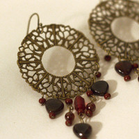 Antique Brass Filigree Earrings, Chandeliers, with Red and Garnet dangles - littletreeofjewels