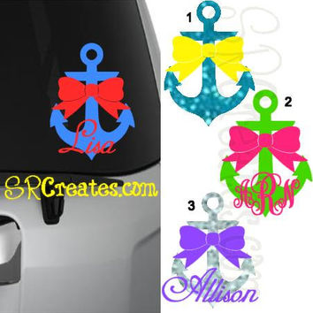 Anchor and Bow - GLITTER! And add your monogram!
