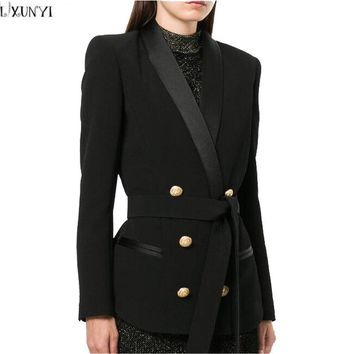 LXUNYI Ladies Double Breasted Blazer With Belt 2018 Spring Metal Buttons Women Blazers And jackets Office Slim Formal Suit Coat