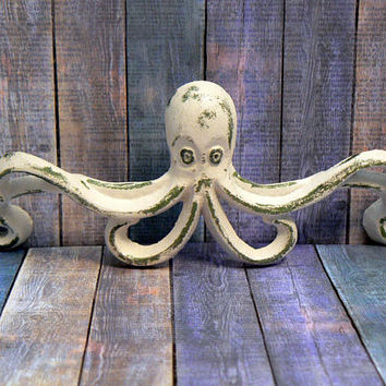 Octopus Cottage Chic Beach White Handle Pull Cast Iron Shabby Cabinet Drawer Nautical Lake House Nursery Girls Room Coastal Sea Home Decor