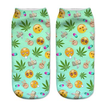 Hippy Emoji Collage Ankle Socks