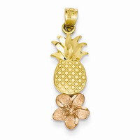 14k Two Tone Gold Pineapple Plumeria Pendant