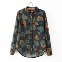 Winter Women's Fashion Lights Print Shirt [6513180871]