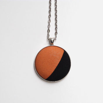 Mustard Yellow Orange and Black Color Block Necklace, Round Fabric Button Pendant, Long Chain, Asymmetrical Bohemian Jewelry