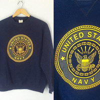 Vintage Navy Sweatshirt, United States Navy Sweatshirt, Military Shirt, Navy Blue Sweatshirt, Navy Shirt