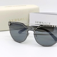 NEW Versace Sunglasses Mod.2177 Cat Eye 1000/6G Silver Mirrored 140mm Italy