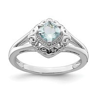Sterling Silver Genuine Aquamarine Square Cushion Filigree Ring