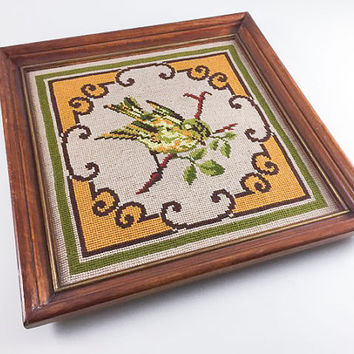 Vintage Bird Flower Needlepoint Wall Hanging Retro Floral Wall Brown Yellow Green Framed Floral Home Decor