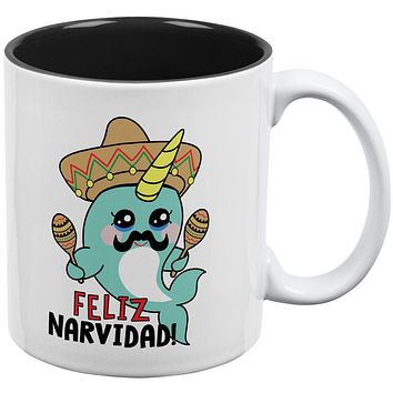 Christmas Narwhal Feliz Narvidad Navidad All Over Coffee Mug