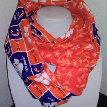 Clemson Tigers Infinity Scarf - Purple Orange Cotton Cowl for Women, Student - College NCAA Football Sports - Pretty Flowers Flannel Fashion