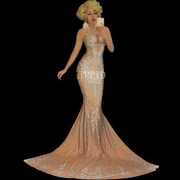 Bright Big Crystals Nude Long Dress Nightclub Prom Birthday Celebrate Female Singer Costume Big Tail Stones Dresses Outfit