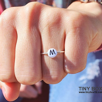 Initial Ring - Monogram Ring - Name Ring - Sterling Silver Ring - Stacking Ring - Personalized initial ring - Customized Name Ring tinybox12