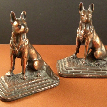 Antique Cast Iron Dog Bookends // 1920s Art Colony // SHEPHERD // from Successionary