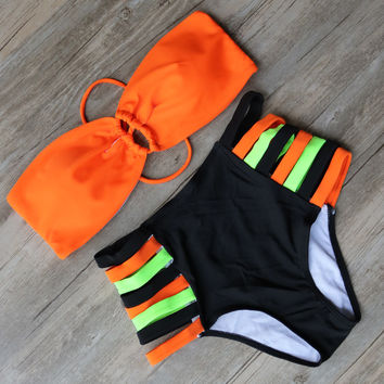 Back Tie Push Up Bikini Top w/ Strappy Side High Waisted Bottom
