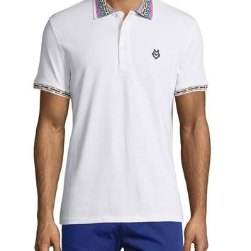 Embroidered-Trim Polo Shirt, White/Multi