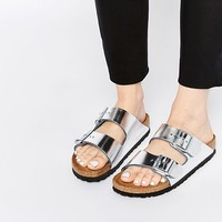 Birkenstock Arizona Metallic Silver Slider Flat Sandals at asos.com