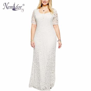 Nemidor Hot Sales Women Elegant O-neck Party Plus Size 7XL 8XL 9XL Lace Dress Vintage Short Sleeve Midi Casual Long Maxi Dress