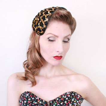 1940s Fascinator / VINTAGE / Costume Headpiece / Gold / Sequins / Satin / Carnival / Circus