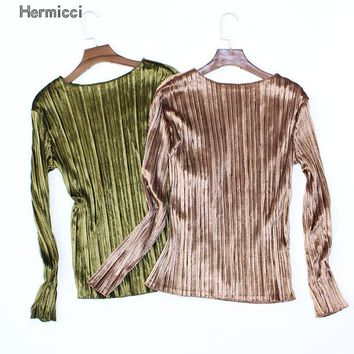 Hermicci 2017 New Velvet T-shirt Women's Spring Autumn Long Sleeve Velour Tops Solid Color Pleated Shirts Women Fashion Tee
