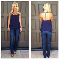 Trinity Cut Out Tank - NAVY